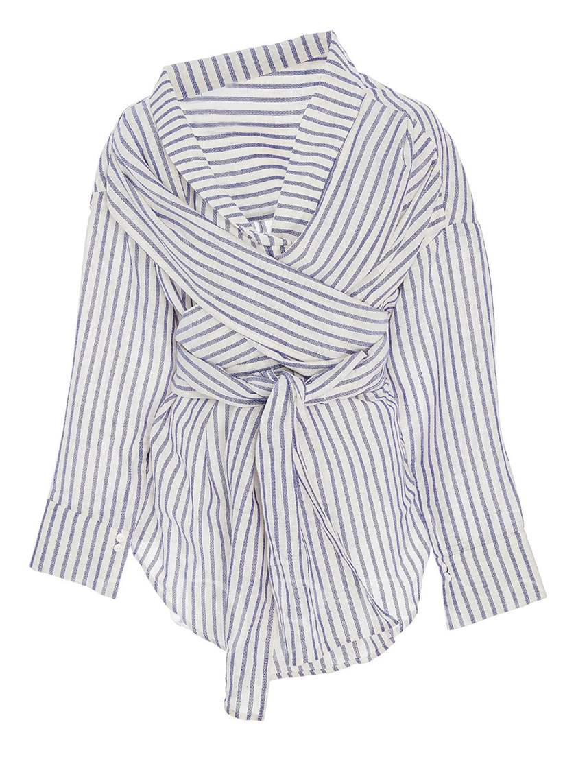 Stripe Lace-Up Stand Collar Women's Blouse