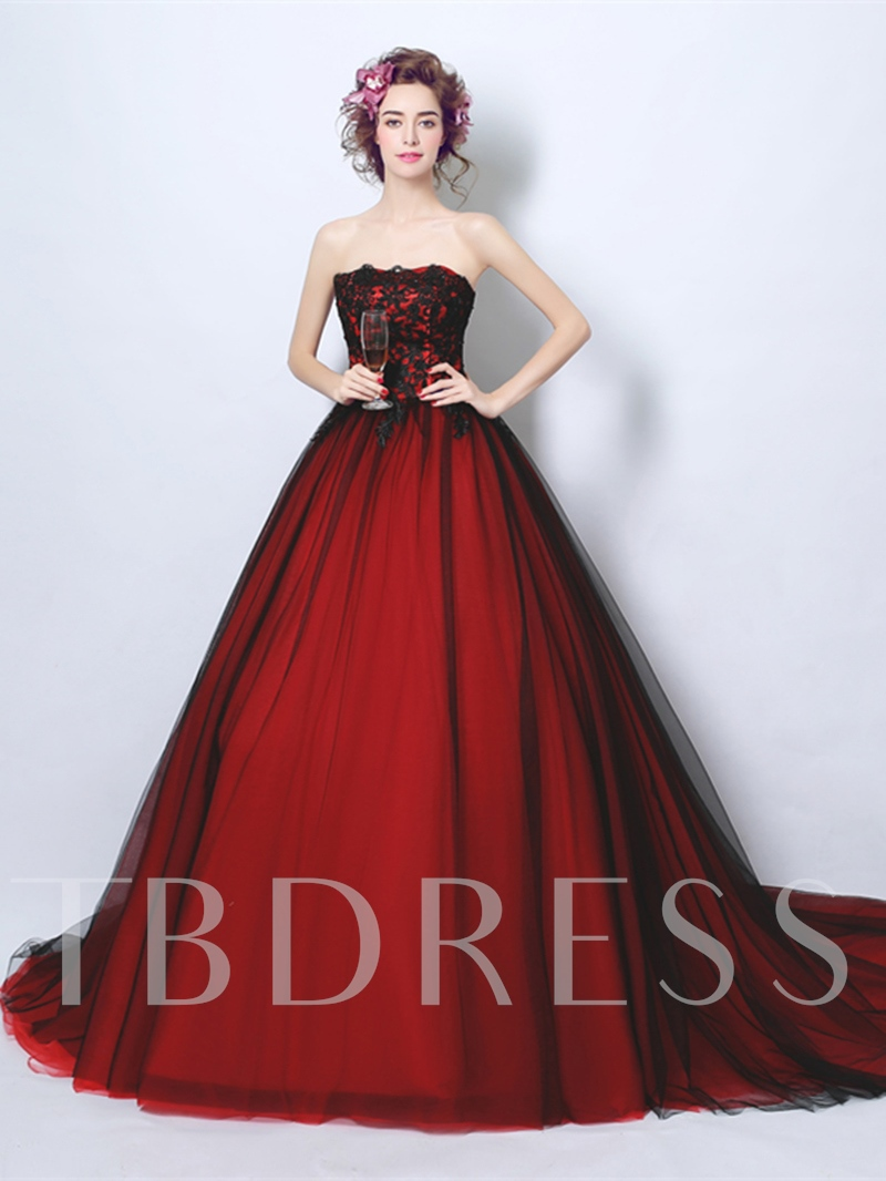 Strapless Ball Gown Appliques Court Train Quinceanera Dress