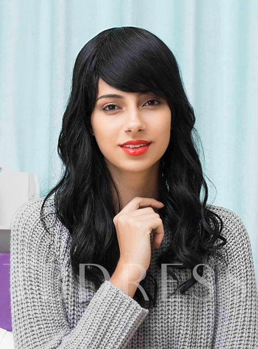 Big Curly Black Long Human Hair With Full Bangs Capless Wigs 22 Inches