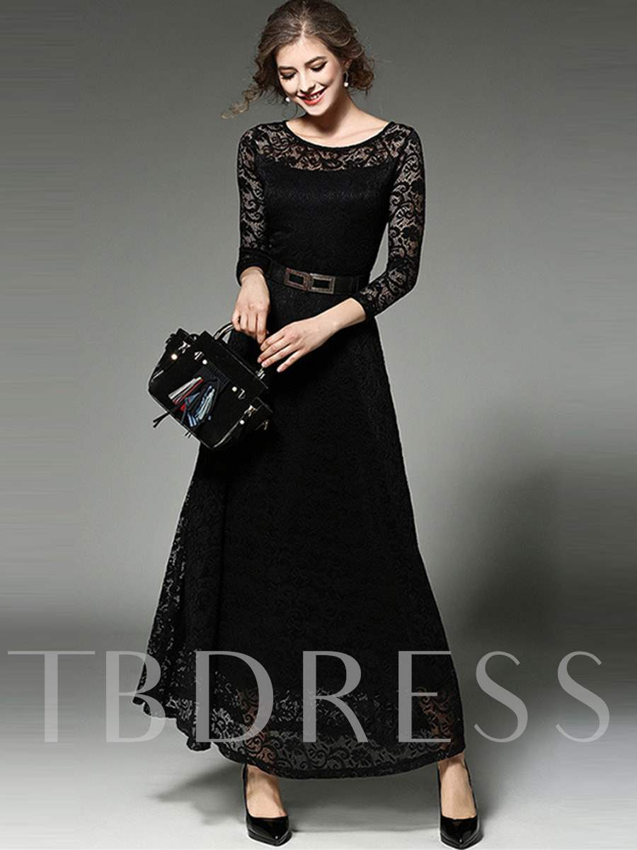 Buy Solid Color Long Sleeve Lace Women's Maxi Dress, Spring,Fall,Winter, 12723732 for $32.30 in TBDress store
