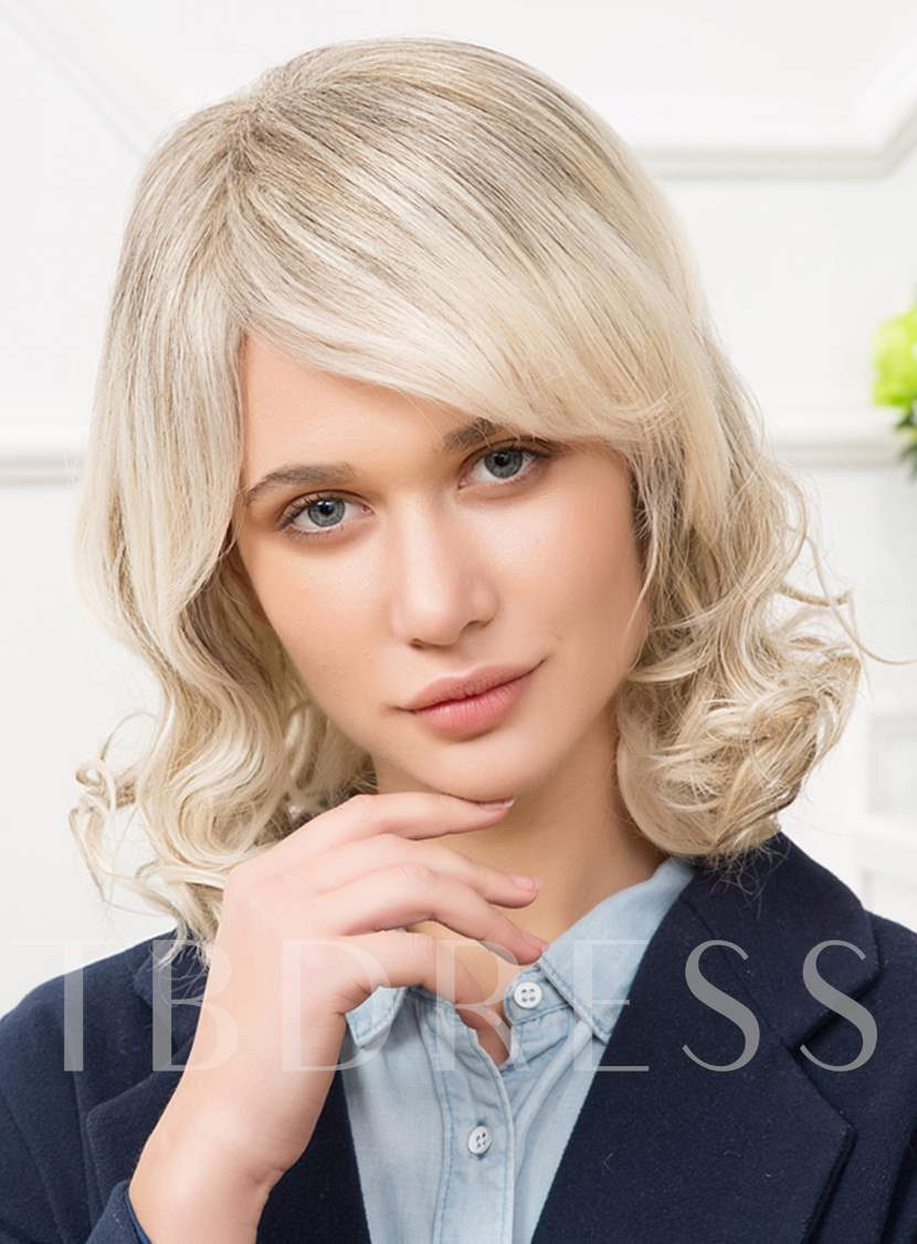 Medium Curly Mixed Color White Wigs Cheap Human Hair Capless 14 Inches