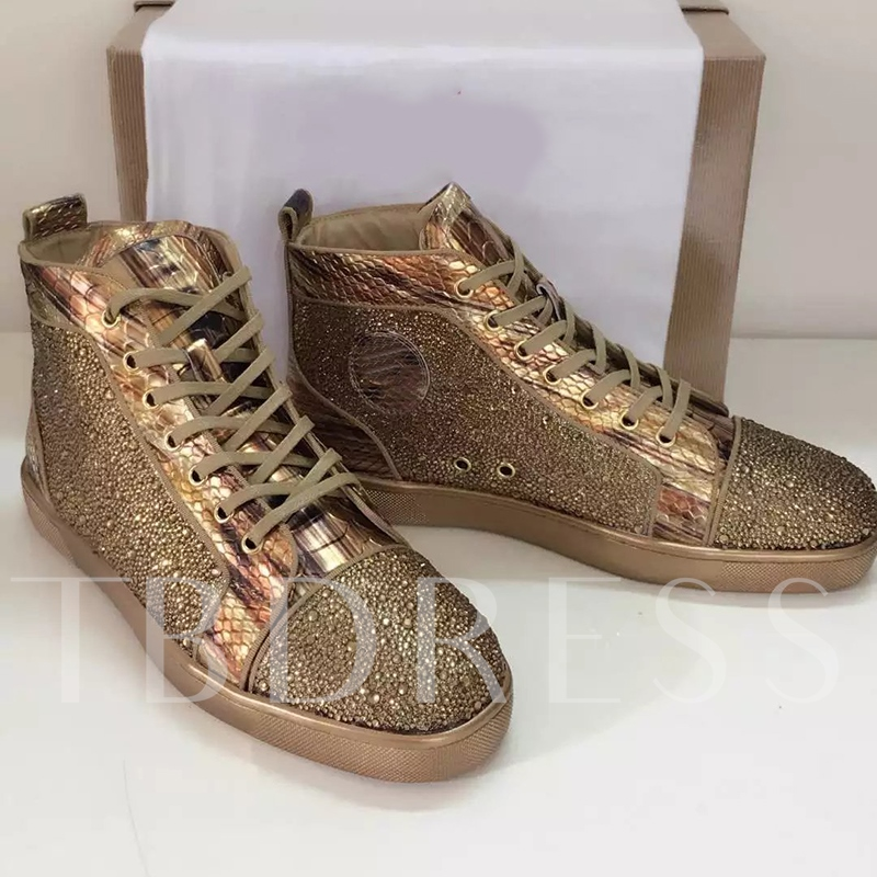 High-Cut Upper Rhinestone Skater Shoes
