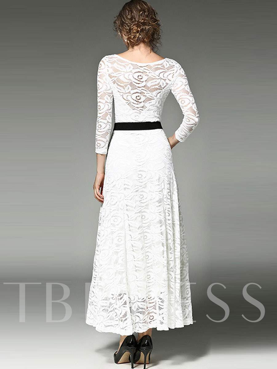Solid Color Long Sleeve Lace Women's Maxi Dress - Tbdress.com