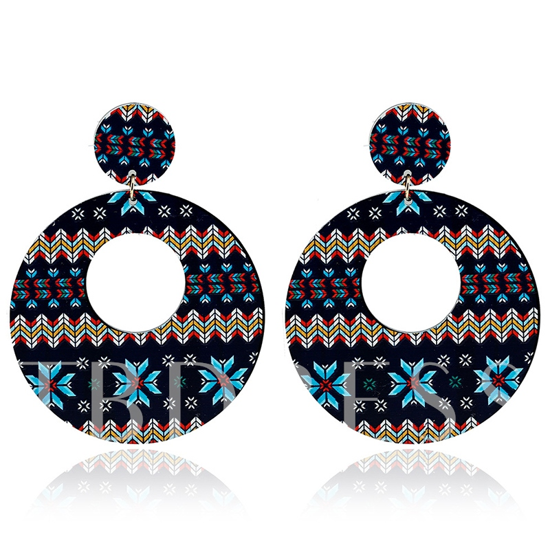 Bohemian Alloy Applique Round Earrings