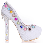Beads Ultra-High Heel Platform Women's Wedding Shoes