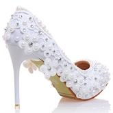 Rhinestone Stiletto Heel Slip-On Plain Women's Wedding Shoes