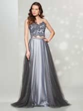 A-Line Spaghetti Straps Appliques Button Floor-Length Prom Dress