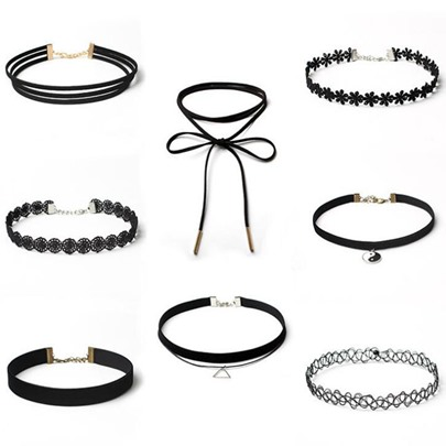 Gothic Style Eight Pieces Lace Choker Necklace
