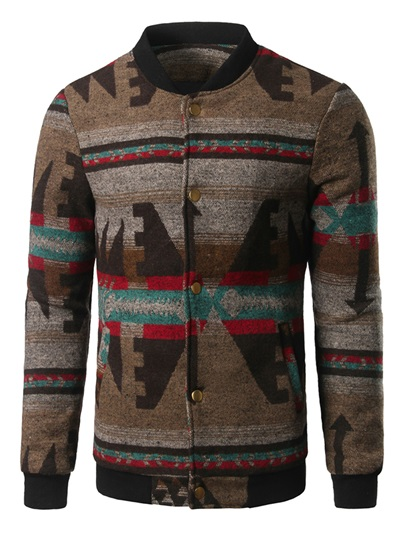 Single-Breasted Vogue Print Men's Casual Jacket