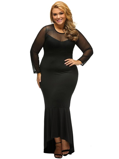 Plus Size Black Asym Women's Maxi Dress