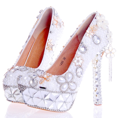 Rhinestone Ultra-High Heel Plain Stiletto Heel Women's Wedding Shoes