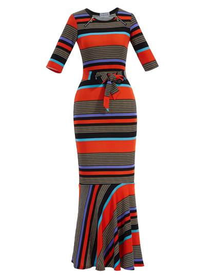 Color Block Strip Belt Women's Maxi Dress