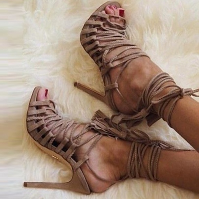 Light Coffee Lace Up Sandals