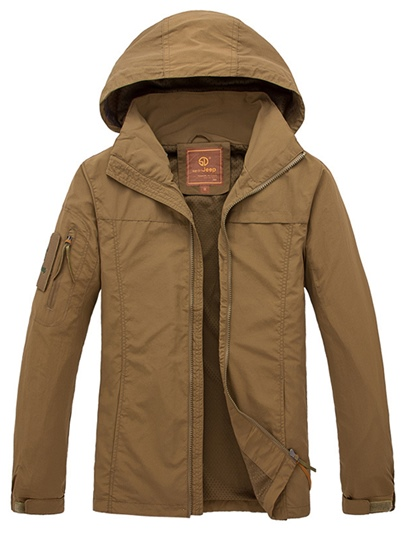 Solid Color Hooded Zipper Men's Causal Jacket