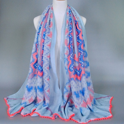 Geometric Printing Blue Cotton Scarf