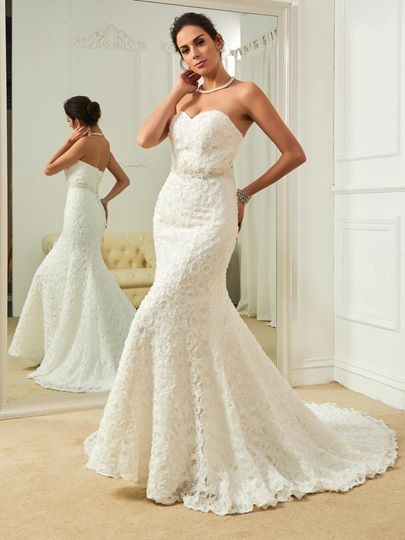 Sweetheart Beading Flowers Mermaid Wedding Dress