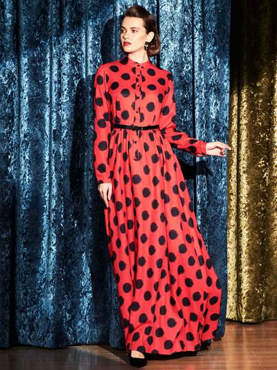 Polka Dots Long Sleeve Chiffon Women's Maxi Dress