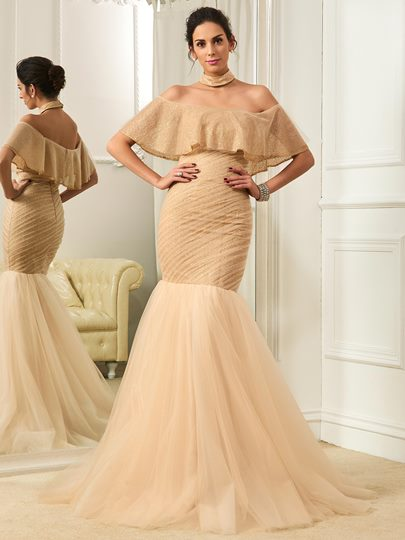 Off the Shoulder Pleats Mermaid Wedding Dress
