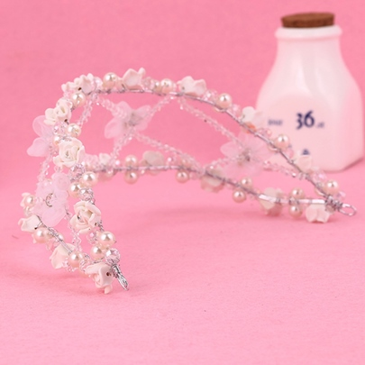 Pink Flowers Design with Pearls Wedding Tiara