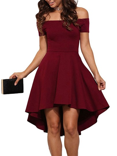 Slash Neck Asym Women's Day Dress