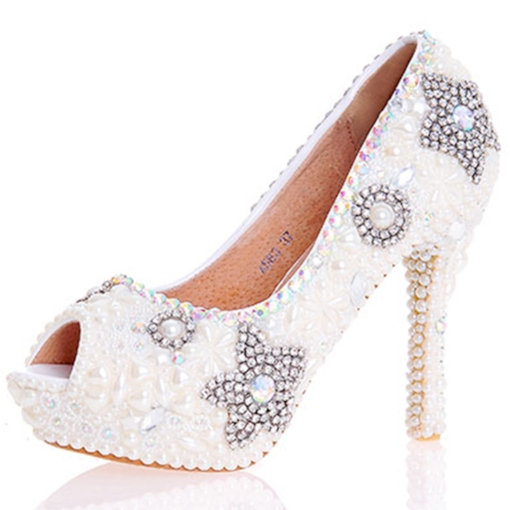 Beads Peep Toe Slip-On Women's Wedding Shoes