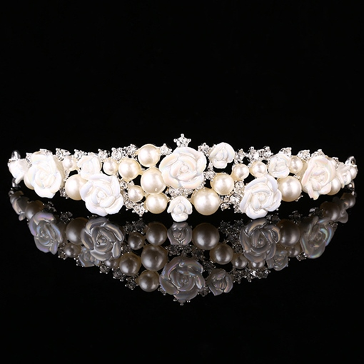 White Ceramic Flower & Pearls Wedding Tiara