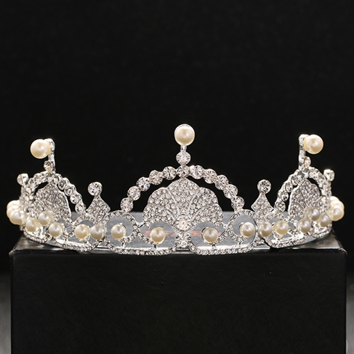 Bright Pearls Embellished Rhinestone Wedding Tiara