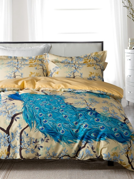 Plant Peacock Duvet Cover Set 4 Piece Bedding Set