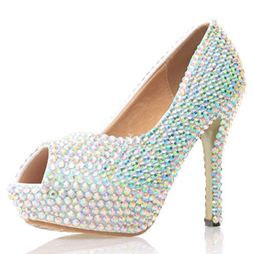 Beads Peep Toe Platform Slip-On Women's Wedding Shoes