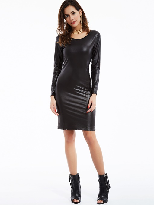 Plain Pu Round Neck Women's Sheath Dress