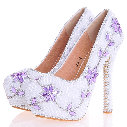 Beads Ultra-High Heel Round Toe Platform Women's Wedding Shoes