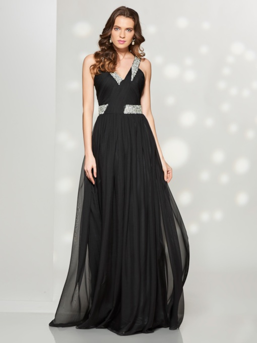 A-Line V-Neck Pleats Beaded Sweep Train Prom Dress