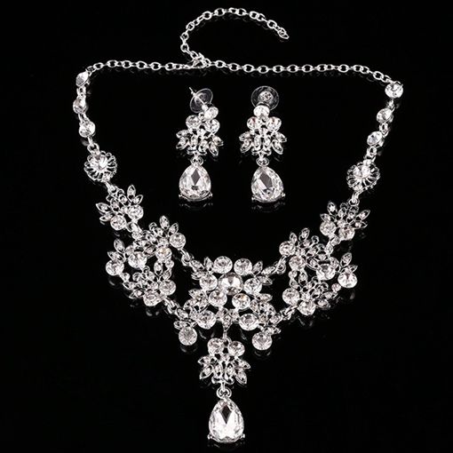 Flower Shaped Rhinestone Inlaid Alloy Wedding Jewelry Set