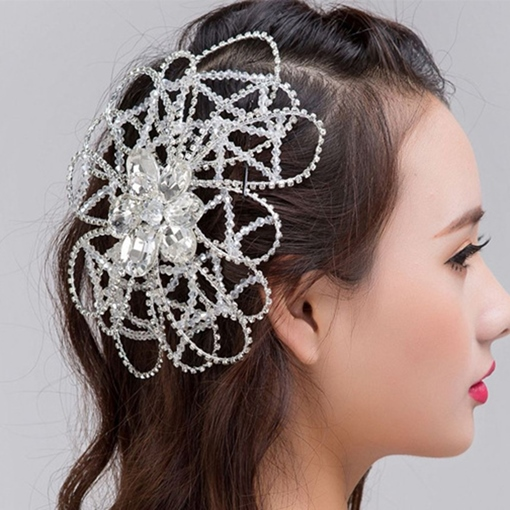 Handmade Rhinestone Beaded Wedding Tiara
