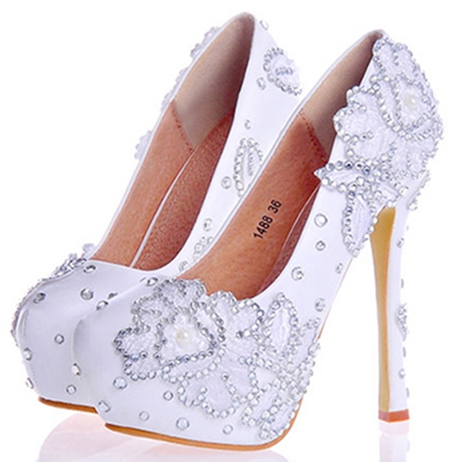Rhinestone Ultra-High Heel Round Toe Wome's Wedding Shoes