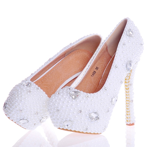 Beads Ultra-High Heel Slip-On Plain Women's Wedding Shoes