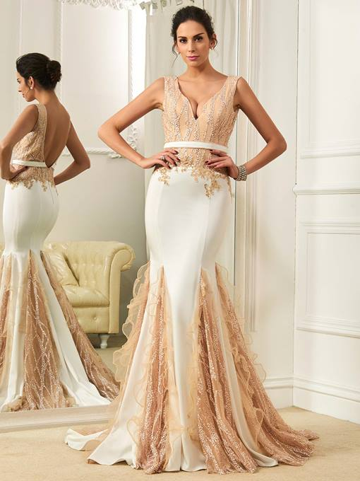 V-Neck Beading Zipper-Up Court Train Mermaid Wedding Dress