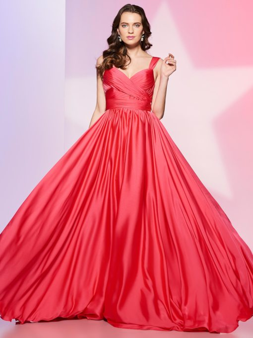 A-Line Straps Draped Pick-Ups Long Prom Dress
