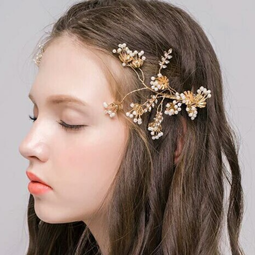 Golden Plated Beading Wedding Hairpin