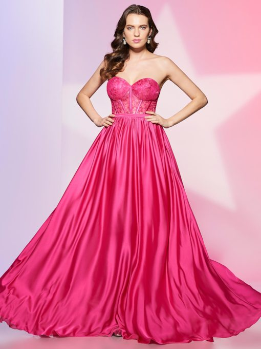 A-Line Sashes Sweetheart Lace Floor-Length Prom Dress