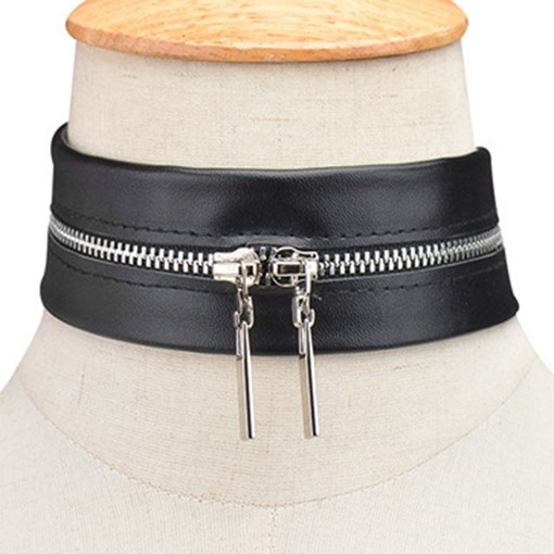 Punk Style Zipper Design Black Artificial Leather Necklace