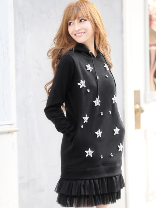 Hooded Diamond Above Knee Long Sleeve Mermaid Women's Dress