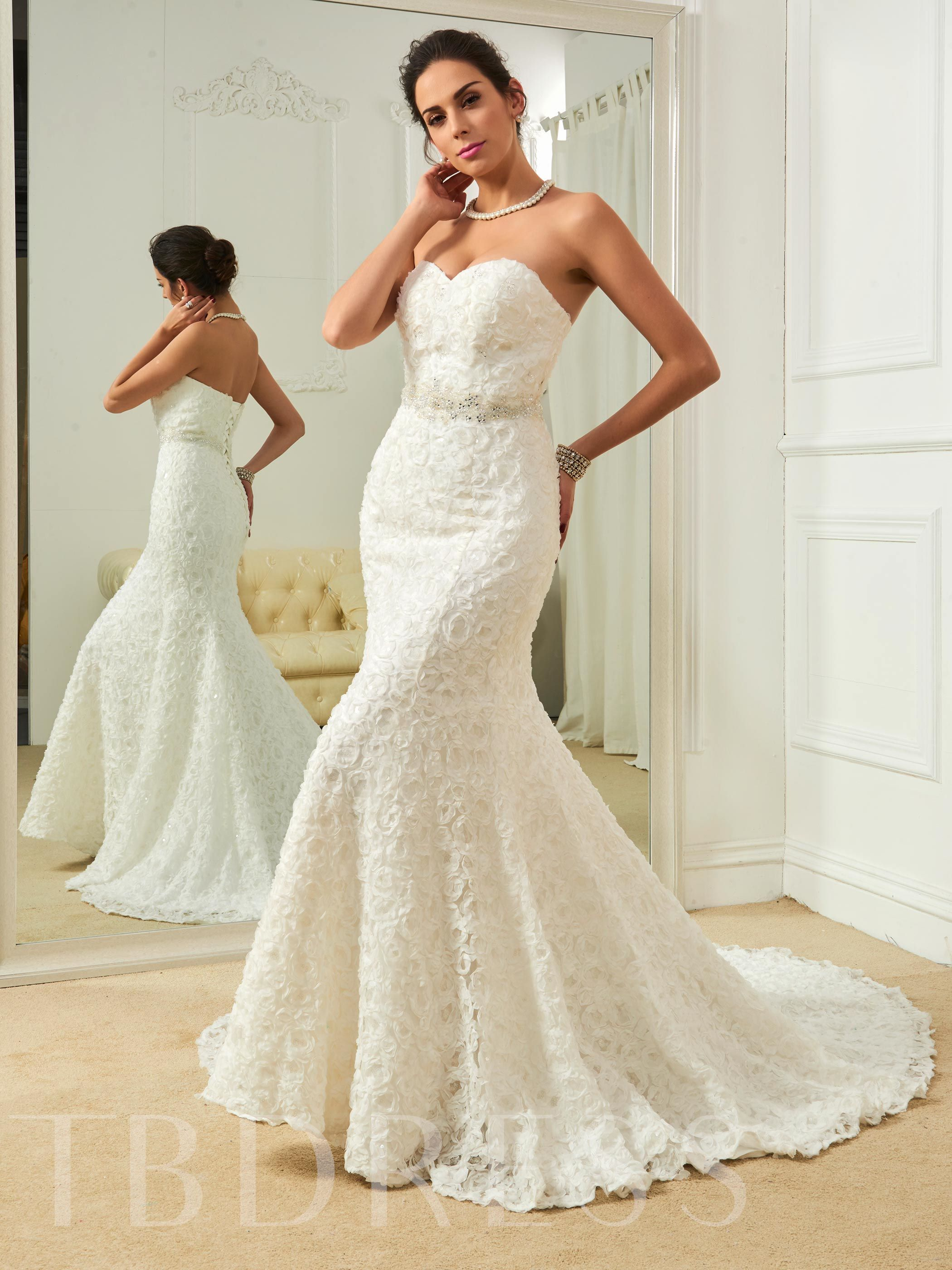 Sweetheart Beading Flowers Mermaid Wedding Dress 12728557