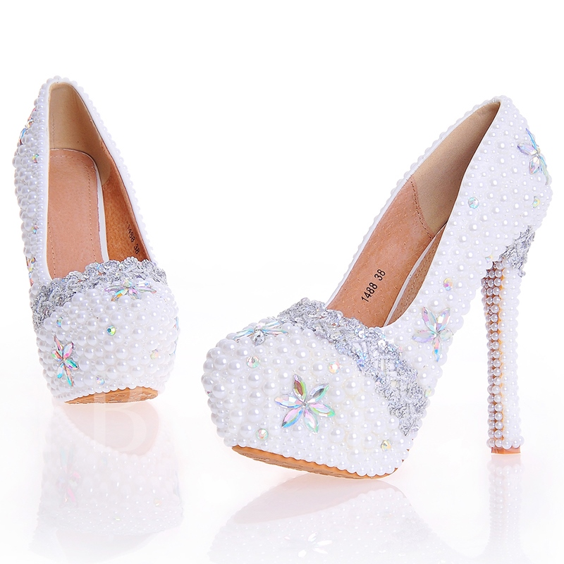 Beads Stiletto Ultra-High Heel Round Toe Women's Wedding Shoes