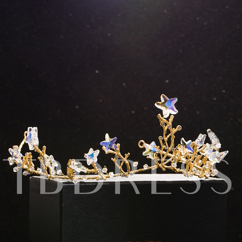 Shiniy Stars Embellished Alloy Wedding Tiara