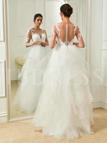 Scoop Neck Long Sleeves Appliques Button A-Line Wedding Dress