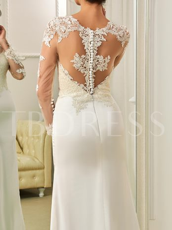 Long Sleeves Scoop Neck Appliques Button Sheath Wedding Dress