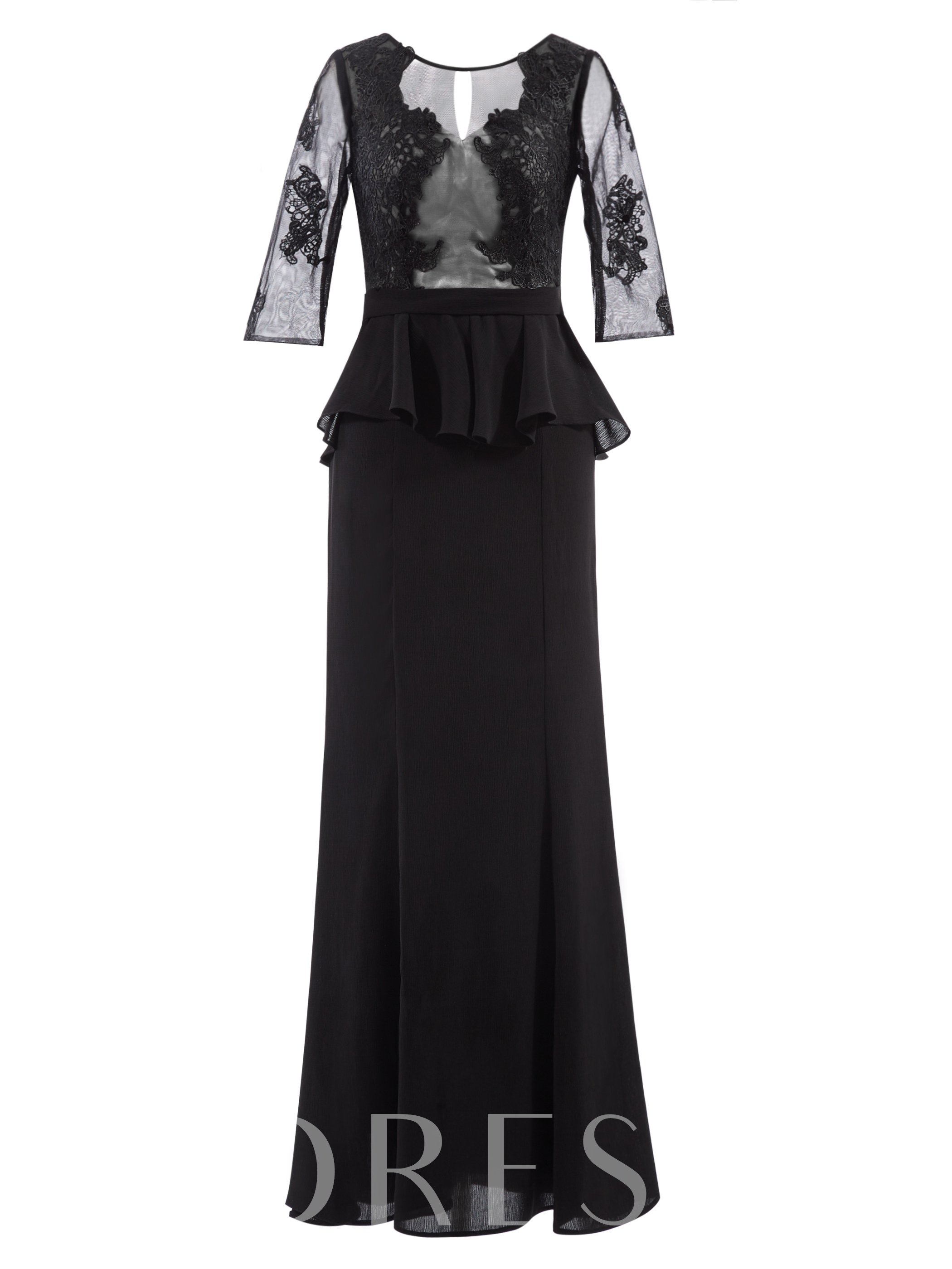 Buy Half Sleeves Appliques Ruffles Sheath Evening Dress, Tanpell, Spring,Fall,Winter, 12434665 for $51.21 in TBDress store