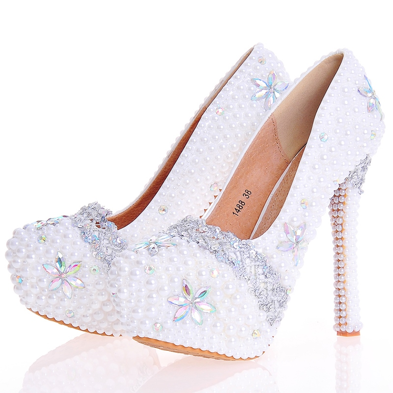 Buy Beads Stiletto Ultra-High Heel Round Toe Women's Wedding Shoes, Spring,Summer,Fall, 12724665 for $65.99 in TBDress store