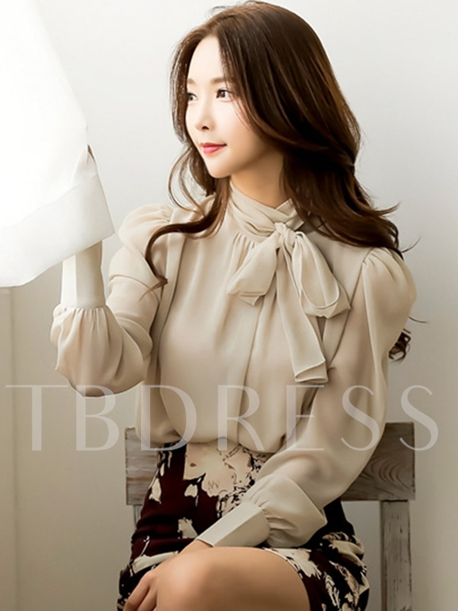 Tie Neck Plain Elegant Women's Blouse